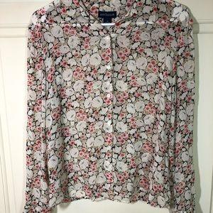 Ann Taylor Silk Button Down Floral Ecru Blouse  12